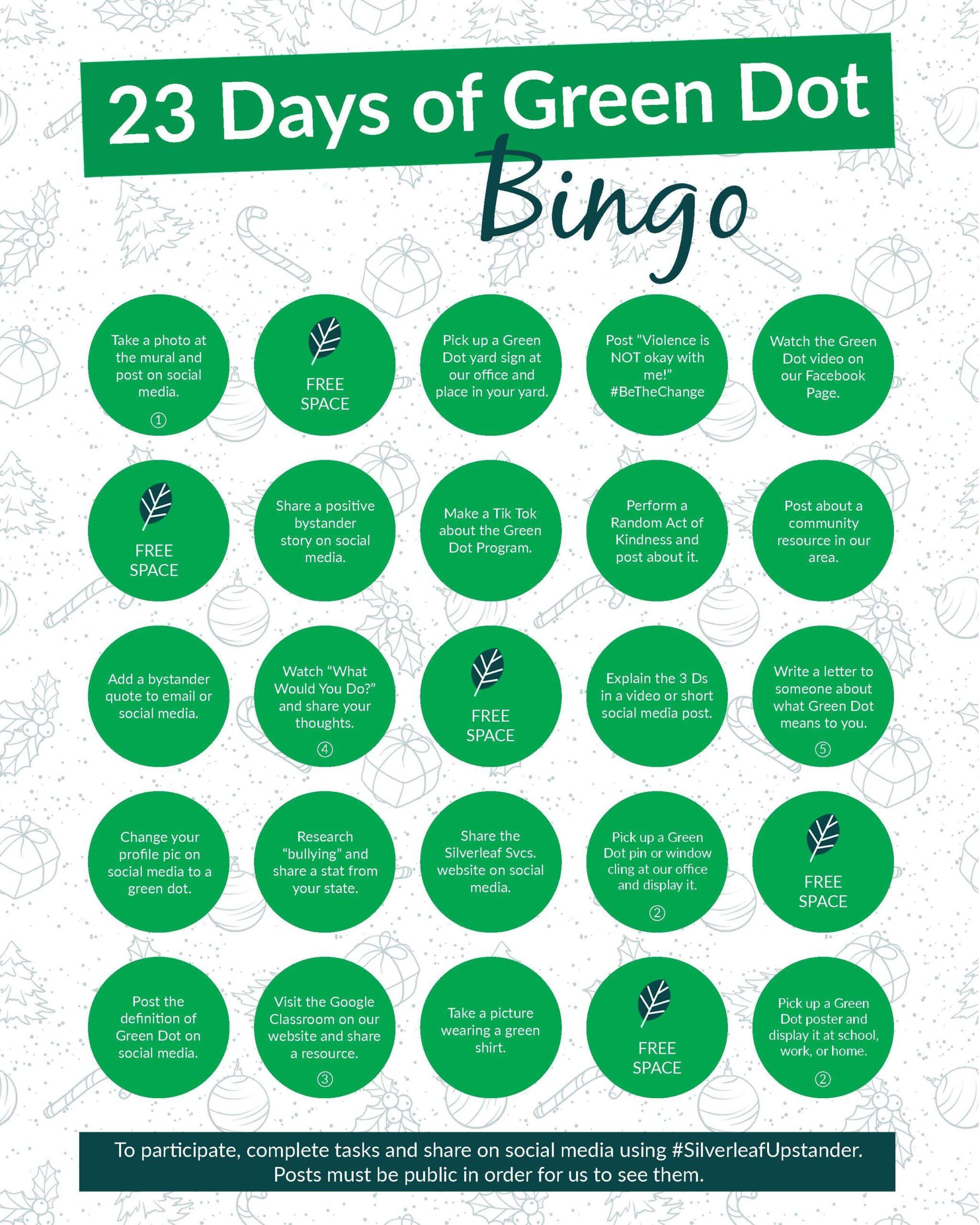 23 Days of Green Dot Bingo Card