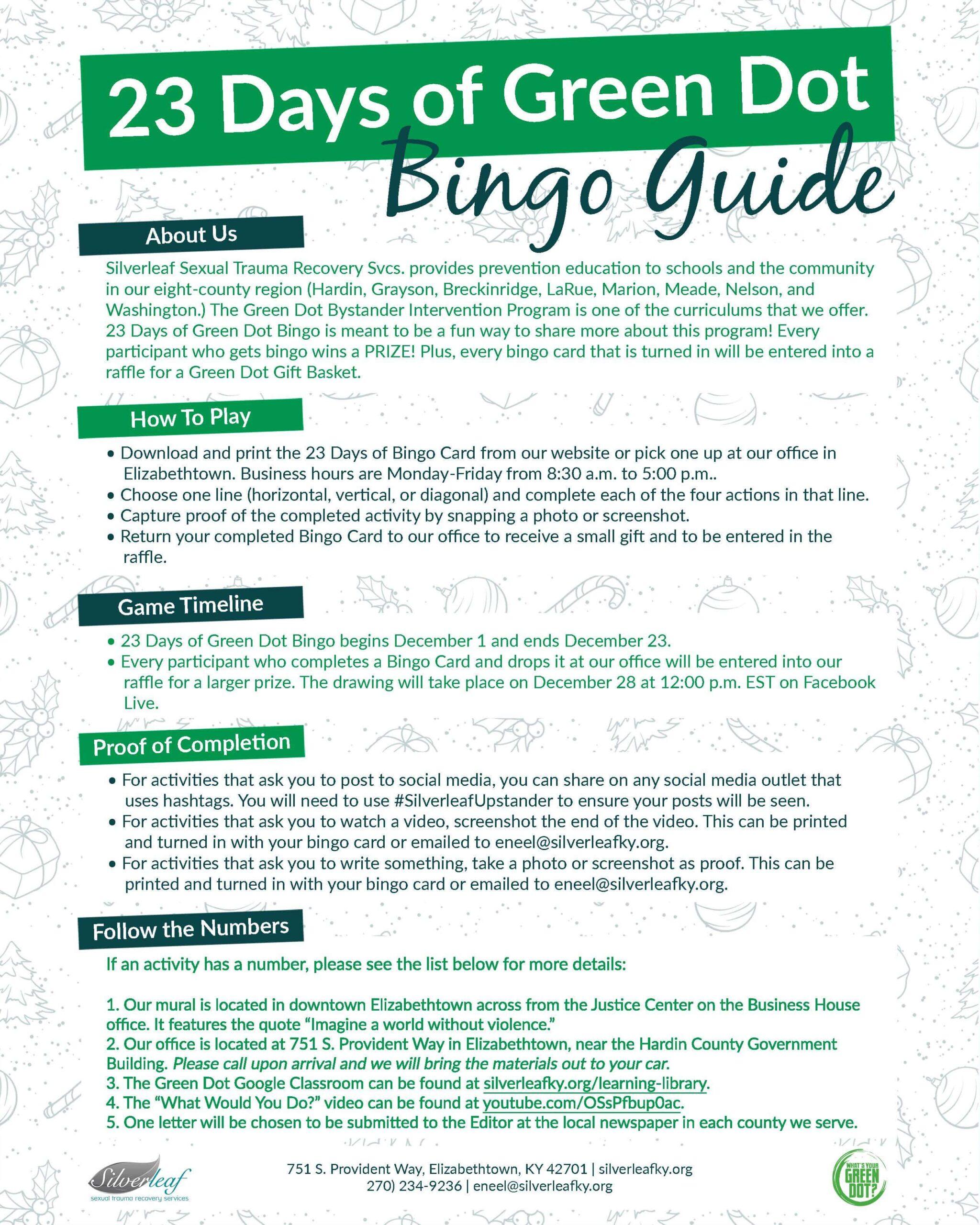 23 Days of Green Dot Bingo Guide